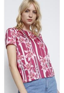 Camiseta Com Recorte Acetinado- Pink & Branca- Cativcativa