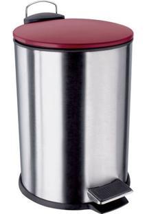 Lixeira- Inox & Vermelho Escuro- 3L- Euro Homewaeuro Homeware