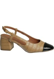 Scarpin Channel Nude Croco