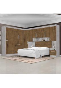 Dormitório Completo Georgia Ja Avelã / Jequitibá Para Cama Box 1,58M Queen