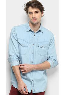 Camisa Jeans Manga Longa Gajang Prestom Masculina - Masculino