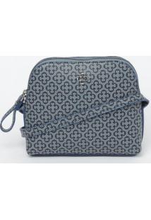 Bolsa Transversal Logo - Azul Claro & Preta- 16X17X6Capodarte