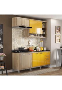 Cozinha Completa Com Balcão Com Tampo 5 Peças 7 Portas Sicília Multimóveis Argila/Amarelo