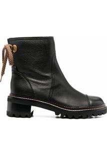 See By Chloé Ankle Boot Com Salto Bloco - Preto