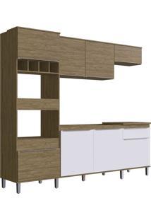 Cozinha Completa 8 Portas Pé Wood Branca Decibal Moveis