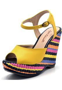 Sandália Anabela Iza Tonelli Amarela Com Salto Inteiriço Colorido Amarelo