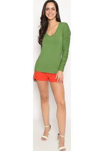 Blusa Lisa Com Franzidos- Verde- Colccicolcci