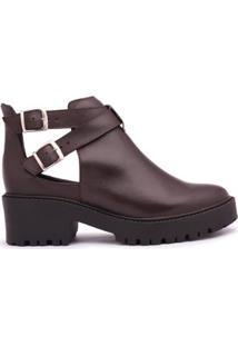 Bota Ankle Boot Leruchel Couro Feminina - Feminino-Cafe