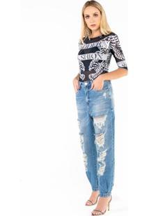 Jaqueta Jeans Com Silk Onça Esplendor Costas Com T Azul