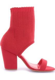 Sandália Sock Sandal Gio Nobuck - Feminino-Vermelho