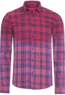 Camisa Masculina Xadrez Corrosão - Vermelho