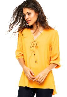 Camisa Manga Curta Malwee Amarração Amarela