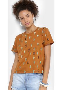 Camiseta Cantão Casório Feminina - Feminino-Caramelo