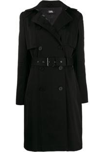 Karl Lagerfeld Trench Coat Com Cinto - Preto