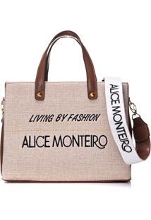 Bolsa Alice Monteiro Bordado Frase - Marrom