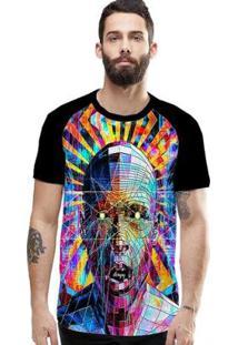 Camiseta Stompy Raglan Modelo 15 Masculina - Masculino-Preto