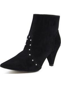 Bota Salto Cone Shoes Inbox Com Pedrarias - Feminino-Preto