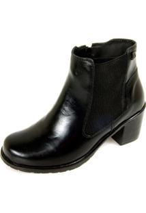Bota Dhatz Ankle Boot Com Fecho Éclair Não Possui Cadarço Preto