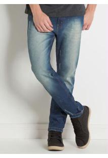 Calça Jeans Com Bolsos Frente E Costas Actual
