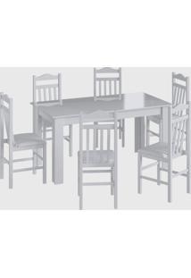 Conjunto Mesa Fixa 6 Cadeiras Branco Móveis Cançáo - Tricae