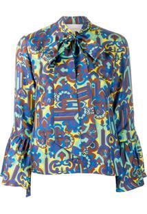 La Doublej Blusa Estampada 'Happy Wrist' - Azul