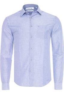 Camisa Masculina Slim Bolso - Azul