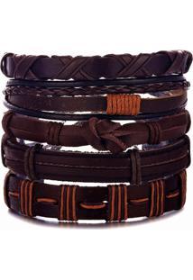 Bracelete 5 Em 1 Pulseira Artestore Em Couro Marrom E Castanho - Kanui