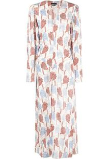 Isabel Marant Vestido Longo Blaine Com Gola V - Branco