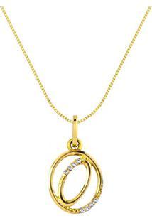 Pingente Letra O Ouro Amarelo E Diamantes 15 Mm