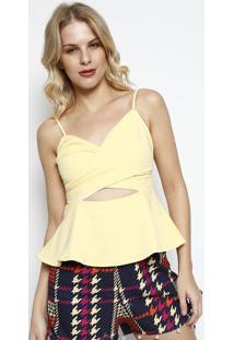 Blusa Transpassada Com Recorte Vazado- Amarelo Clarocharry