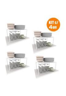 Kit Organizador Prateleira Armário Cozinha Aramado Luxo 4Un Dicarlo