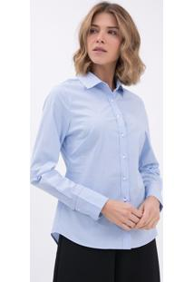 Camisa Listrada Com Detalhes De Pesponto Constrastante