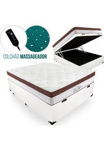 Cama Box Com Baú Casal + Colchão Massageador C/ Infravermelho - Anjos - New King - 138X188X72Cm Branco