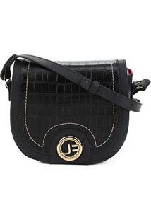 Bolsa Couro Jorge Bischoff Mini Bag Arredondada Feminina - Feminino-Preto