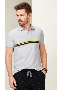 Camisa Cinza Claro Polo Slim Listras Malwee