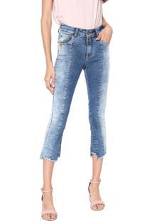 e8ba08392 ... Calça Jeans Uber Jeans Skinny Cropped Assimétrica Azul