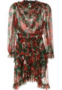 Dolce & Gabbana Vestido Curto De Seda Estampado - Vermelho