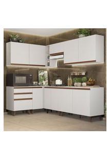 Cozinha Completa De Canto Madesa Reims 392002 Com Armário E Balcáo - Branco Branco