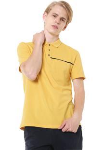 Camisa Polo Calvin Klein Jeans Reta Logo Amarela
