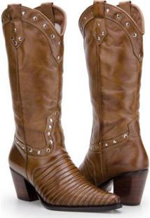 ... Bota Texana Country Capelli Boots Em Couro Com Aplicações Metálicas  Feminina - Feminino-Marrom Claro 6f9eedd5cd0