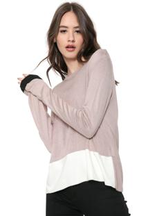 Blusa Calvin Klein Jeans Tricot Color Block Rosa/Off-White - Kanui