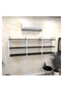 Estante Industrial Escritório Aço Cor Branco 180X30X68Cm (C)X(L)X(A) Cor Mdf Preto Modelo Ind35Pes