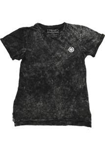 Camiseta Longline Estonada Basic Preto