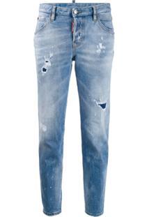 Dsquared2 Calça Jeans Cenoura Com Efeito Destroyed - Azul