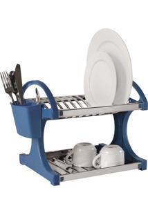 Escorredor Inox 12 Pratos 28X34X30 Cm Azul