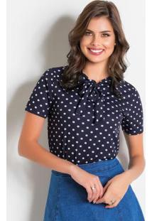 Blusa Poá Azul Com Gola Laço Moda Evangélica