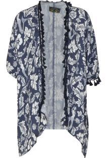 Kimono Colcci Estampado Azul-Marinho/Branco