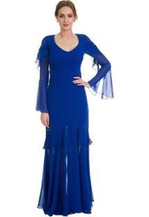 Vestido Izad Em Musseline Mangas Longas Boca De Sino Feminino - Feminino-Azul