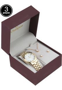 Kit 3 Pçs Relógio Champion Cn25083W Dourado