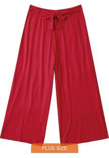 Calça Vermelho Escuro Pantalona Em Viscose
